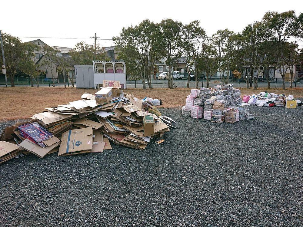 浜松市 高台中学校 資源物回収